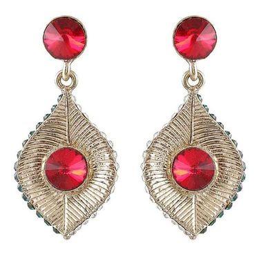 Kriaa Austrian Stone Earrings - Red _ 1301418