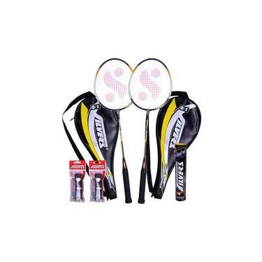 Silver'S Pack Of 2 Legend Badminton Racquets With 2 Individual 3 4Th Covers (Assorted) With 1 Box Silver'S Shuttle Cock Marvel (Pack Of 10) + Silver'S Pvc Grips