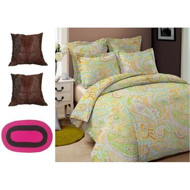 Combo of Valtellina Double Bedsheet + 2 Cushion Cover & 1 Door Mat_Dm05