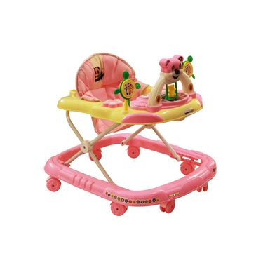 Baby Walker Musical with Tray - Pink & Yellow