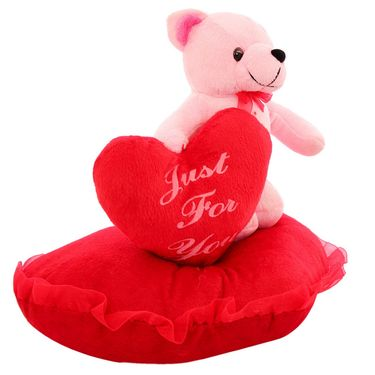 Valentine Stuff Standing On Heart With Dil Teddy - Pink