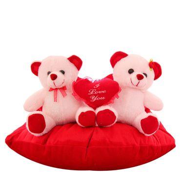 Heart Sofa Couple Valentine Stuff Teddy - White
