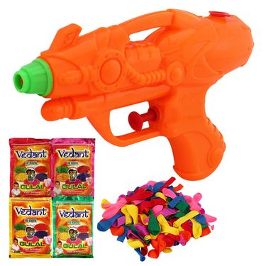 Holi Orange Water Pichkari Squirter With Gulal Balloons 2017 - 4VHG