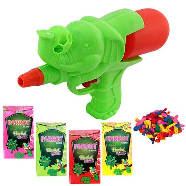 Holi Green Water Pichkari Ele Ball Squirter With Tota Gulal Balloons A577-27 - 4TOTA