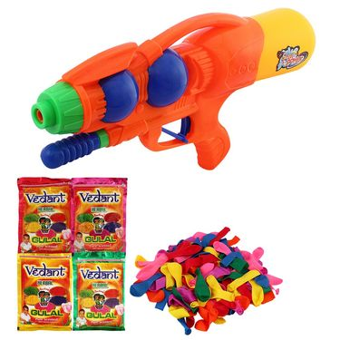 Holi Orange Water Pichkari Shape Squirter With Gulal Balloons 1304 - 4VHG