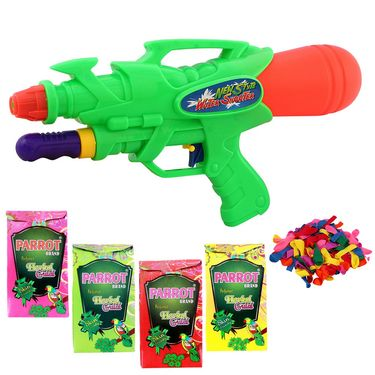 Holi Green Water Pichkari Shape Squirter With Tota Gulal Balloons 6628 - 4TOTA
