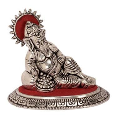 eCraftIndia Lord Ganesha Idol - Silver & Red