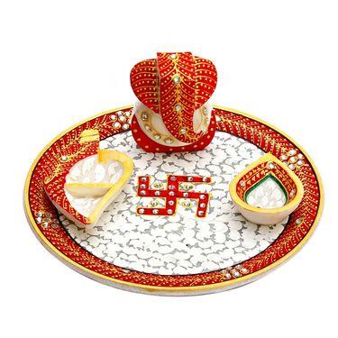 Marble Pooja Thali with Diya, Chopra & Ganesh Figurine-MAR15322