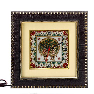 Pure White Marble Wall Clock with Peacock motifs-MAR15386