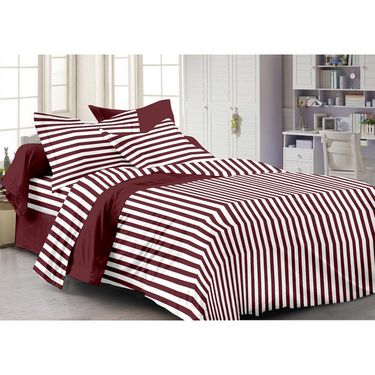 Storyathome Cotton Maroon 1 Double Bedsheet With 2 Pillow Cover-MG1093