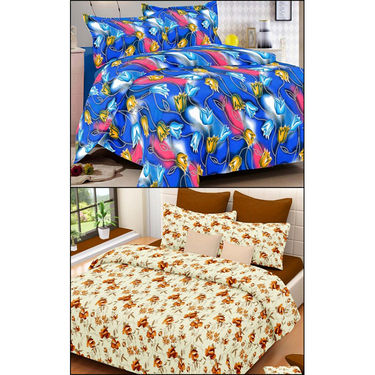 Set of 2 Double Bedsheet with 4 Pillow Covers-MO-67_73