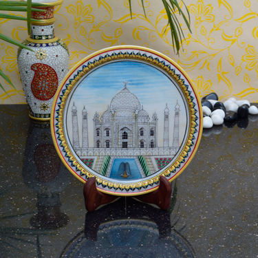 eCraftIndia Classy Taj Mahal on Marble Plate with Wooden Stand - MultiColor
