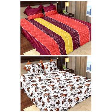 Storyathome Cotton 2 Double Bedsheet With 4 Pillow Cover-MP_1206-1207