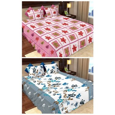 Storyathome  Cotton 2 Double Bedsheet With 4 Pillow Cover-MP_1214-1212