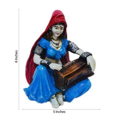 eCraftIndia Polyresin Rajasthani Lady Playing Harmonium Showpiece-MSRAJ510
