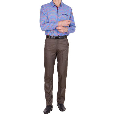 Tiger Grid Cotton Formal Trouser For Men_Md003 - Brown