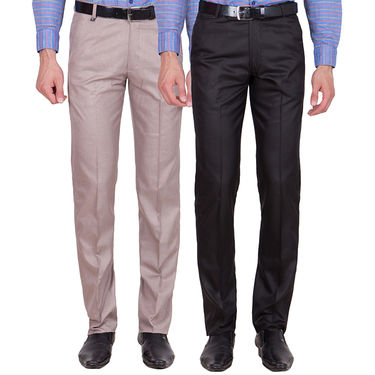 Tiger Grid Pack of 2 Cotton Formal Trouser For Men_Md014