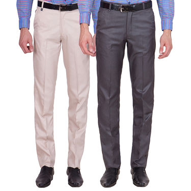 Tiger Grid Pack of 2 Cotton Formal Trouser For Men_Md033