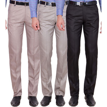 Tiger Grid Pack of 3 Cotton Formal Trouser For Men_Md041