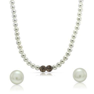 Mahi Gold Plated Necklace Set With Swarovski Elements Stone_NL1104512G