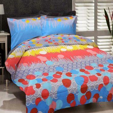 Combo of Valtellina Double Bedsheet + 2 Cushion Cover & 1 Door Mat_Nv0908