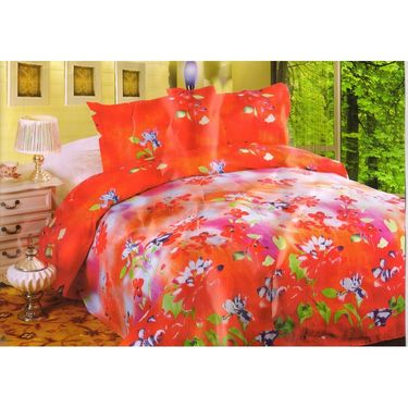 Set of 2 Multicolor Poly Cotton Double Bedsheet with 4 Pillow Covers -NLD-2-03_04