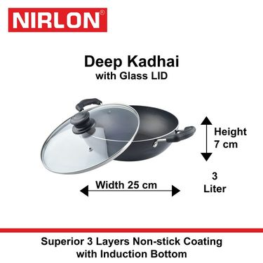 Nirlon Non-Stick Induction Deep Kadhai With Lid 2.6 Ltr_NR48444