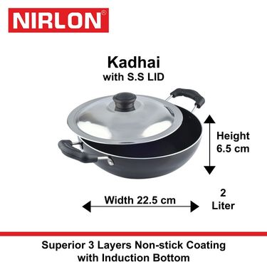 Nirlon Non-Stick Induction Kadhai With SS Lid 2 Ltr_NR48719