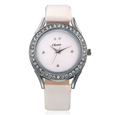 Oleva Set of 2 Ladies Necklace Set + 1 Leather Watch - White - OHD 59