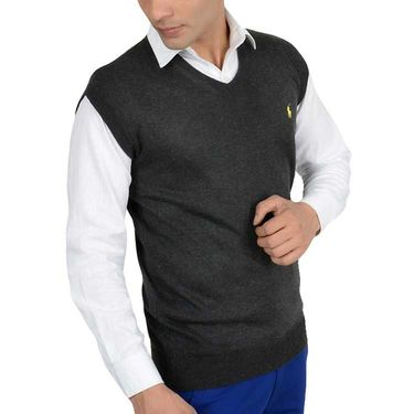 Branded Regular Fit Cotton Sweater_Os15 - Dark Grey