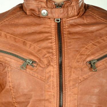 Branded Regular Fit Leather Jacket_Os20 - Brown