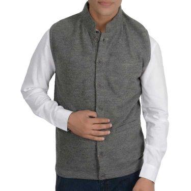 Branded Slim Fit Cotton Waist Coat_Os32 - Grey Plain