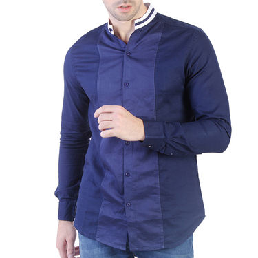 Branded Slim Fit Cotton Shirt_Os36 - Navy Blue