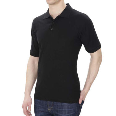 Oh Fish Plain Polo Neck Tshirt_P1blk - Black