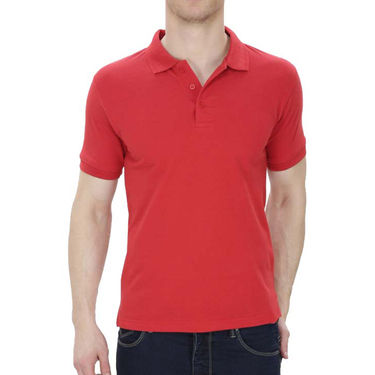 Oh Fish Plain Polo Neck Tshirt_P1red - Red