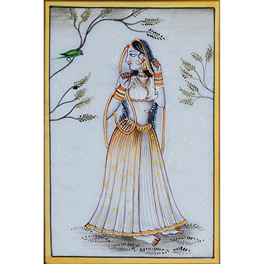 eCraftIndia Ragini Marble Painting with Parrot - MultiColor
