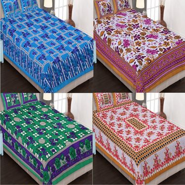 Set of 4 Traditional Jaipuri Print 100% Cotton Ethnic Double Bed sheets With 8 Pillow Covers -PF101DWP4B