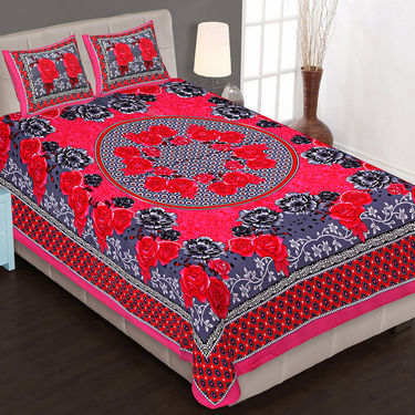 Set of 4 Traditional Jaipuri Print 100% Cotton Ethnic Double Bedsheets With 8 Pillow Covers -PF102DWP4B