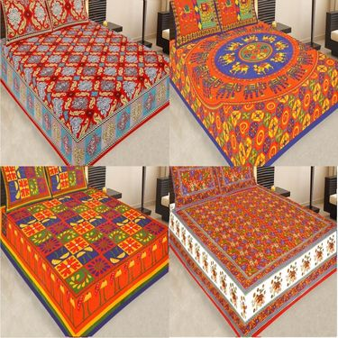 Set of 4 Jaipuri Cotton king size  Double Bedsheets With 8 Pillow Covers-PF10D4BWP