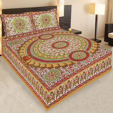Set of 2 Traditional Jaipuri Print 100% Cotton Ethnic Double Bed sheets With 4 Pillow Covers -PF106DWP2B