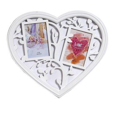 Lovely Heart Shape Collage Photoframe In White Shade