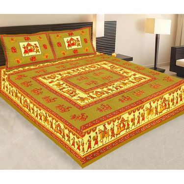 Set of 5 Jaipuri Cotton Sanganeri Printed  Double Bedsheets With 10 Pillow Covers-PF2D5BWP