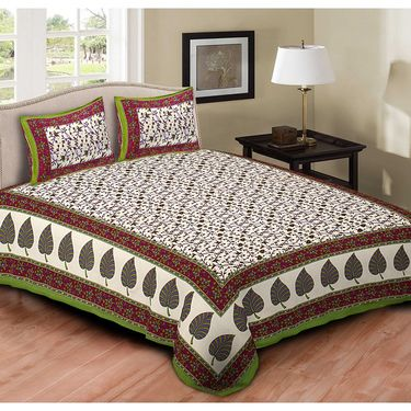Set of 6 Jaipuri Cotton king size  Double Bedsheets With 12 Pillow Covers-PF2D6BWP