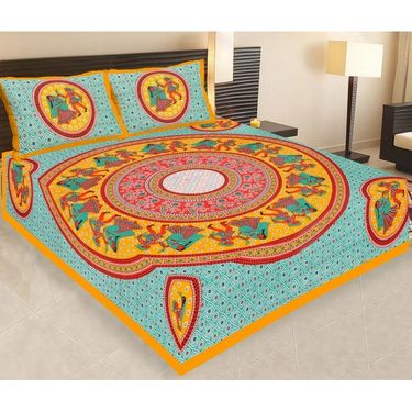 Set of 7 Jaipuri Cotton Sanganeri Printed  Double Bedsheets With 14 Pillow Covers-PF2D7BWP