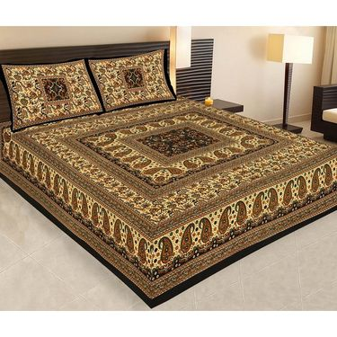 Set of 5 Jaipuri Cotton Sanganeri Printed  Double Bedsheets With 10 Pillow Covers-PF5D5BWP