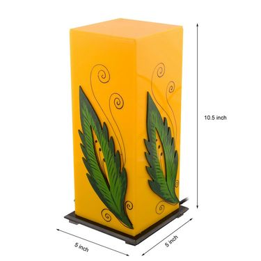 eCraftIndia Green Leaf Wooden Block Acrylic Yellow Table Lamp-PLAMP502