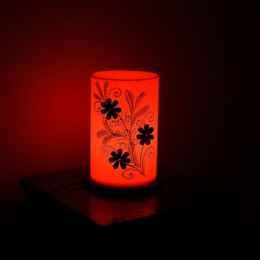 Floral Wooden Block Acrylic Orange Round Table Lamp-PLAMP505