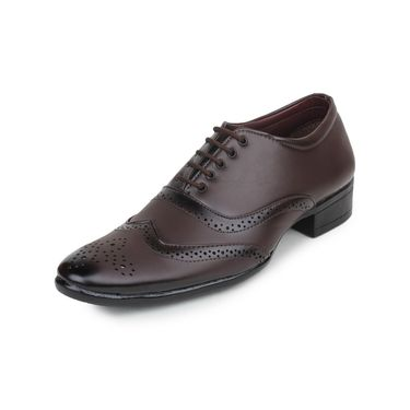 Pede Milan Synthetic Leather Brown Formal Shoes -pde47