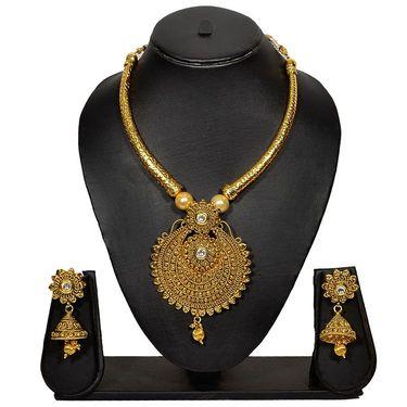 Pourni Stylish Brass Necklace Set_Prnk36 - Golden