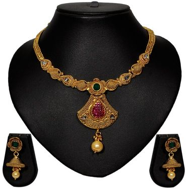 Pourni Stylish Brass Necklace Set_Prnk43 - Golden